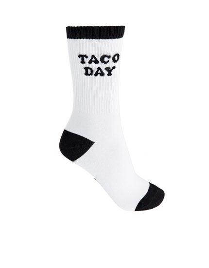 Socks with Taco Day trim