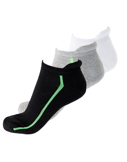 Pack of 3 neon stripe no-show socks