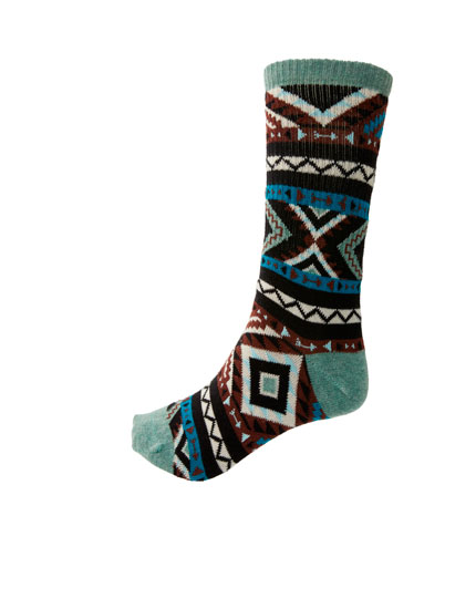 Long geometric print socks
