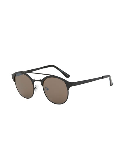 Metal double bridge sunglasses
