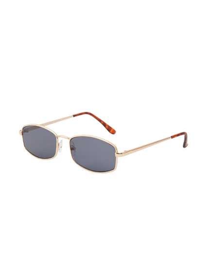 Golden rectangular sunglasses