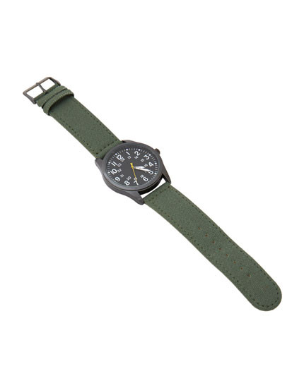 Khaki green canvas watch