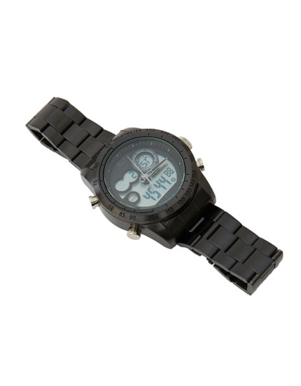 All-black digital watch