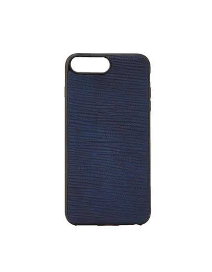 Smartphone case in blue faux leather