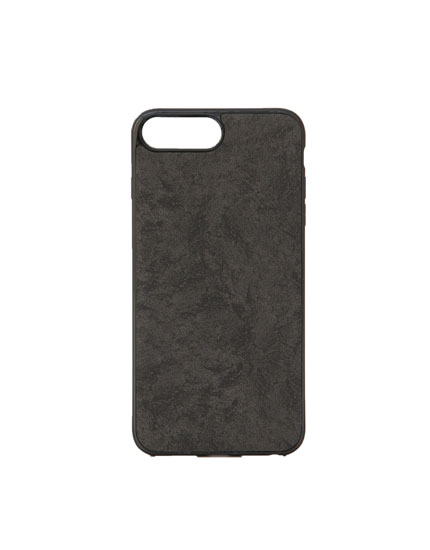 Smartphone case in grey faux suede