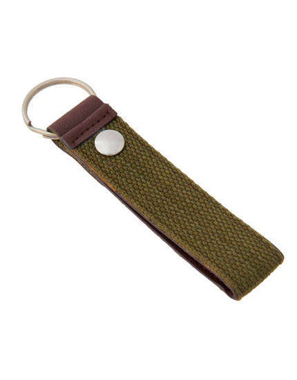 Brown fabric key ring