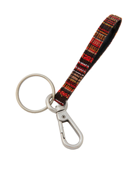 Printed faux leather key ring