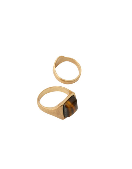 Pack of 2 tiger's eye rings