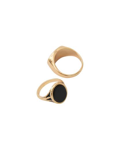Pack 2 anillos óvalo dorados