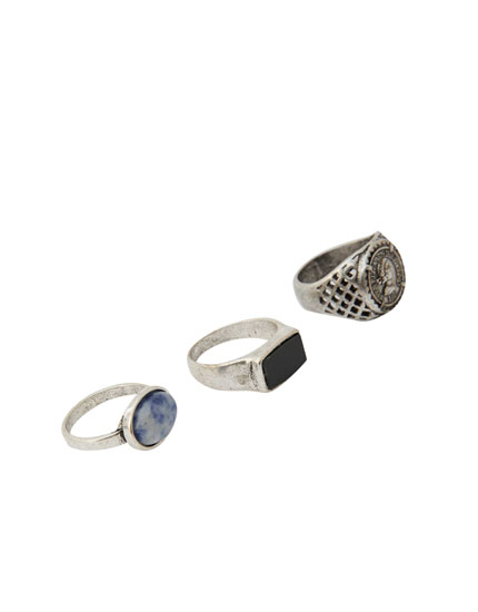 Pack of 3 stone and coin rings