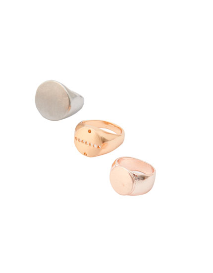 Pack of 3 basic gold-finish rings