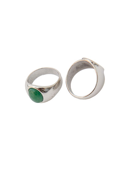 Pack of 2 silver and gold-finish jasper rings