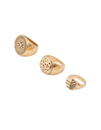 Pack of 3 gold-finish signet rings
