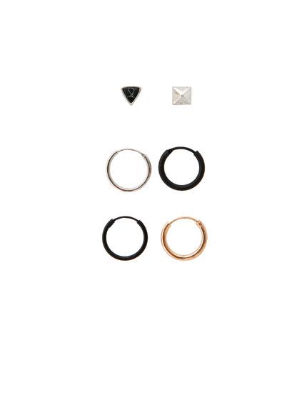 Pack of 6 embellished hoop earrings