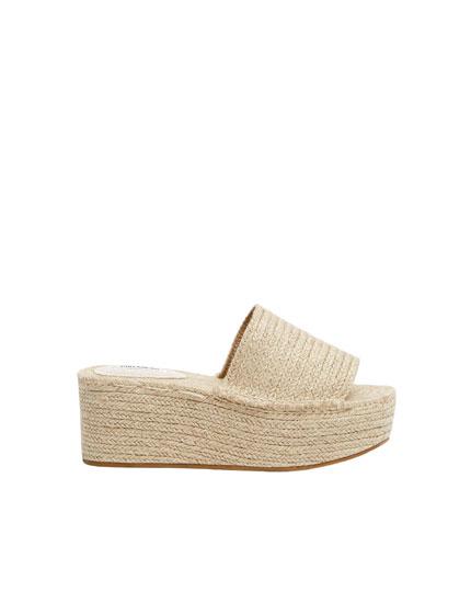 Sandales compensées écrues