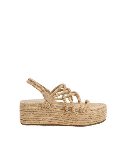 Sandales compensées corde