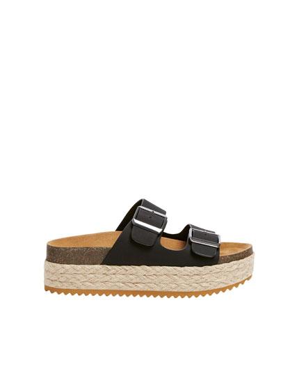 Sandales plateforme jute