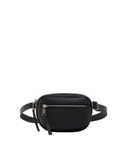 Black belt bag with zip details