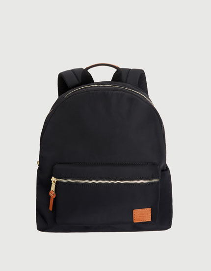 Black fabric backpack