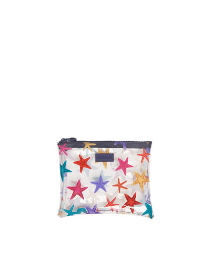 Starfish print vinyl toiletry bag