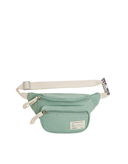 turquoise fabric belt bag