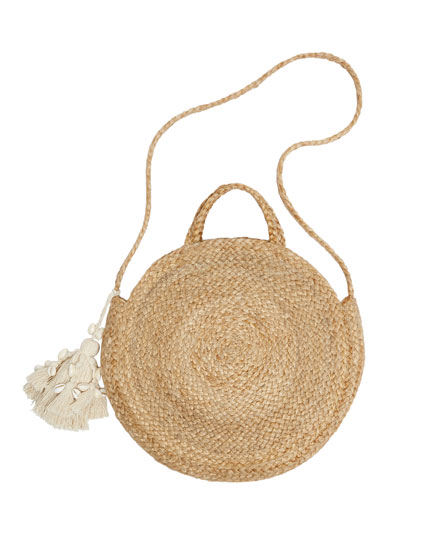 Jute crossbody bag with seashells
