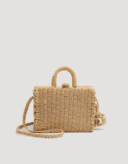 Crossbody box bag with shell detail