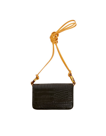 Black mock croc crossbody bag