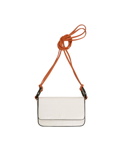 White mock croc crossbody bag