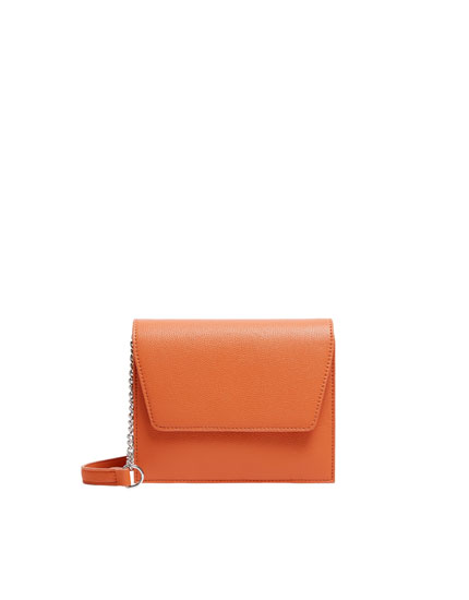 Orange crossbody bag with flap