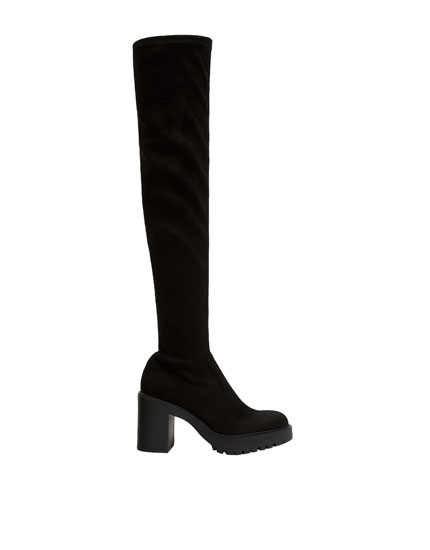 High-heel stretchy knee-high boots