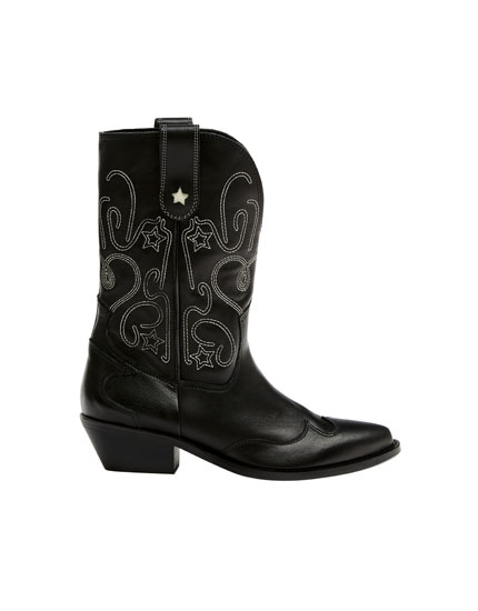 Embroidered leather cowboy boots