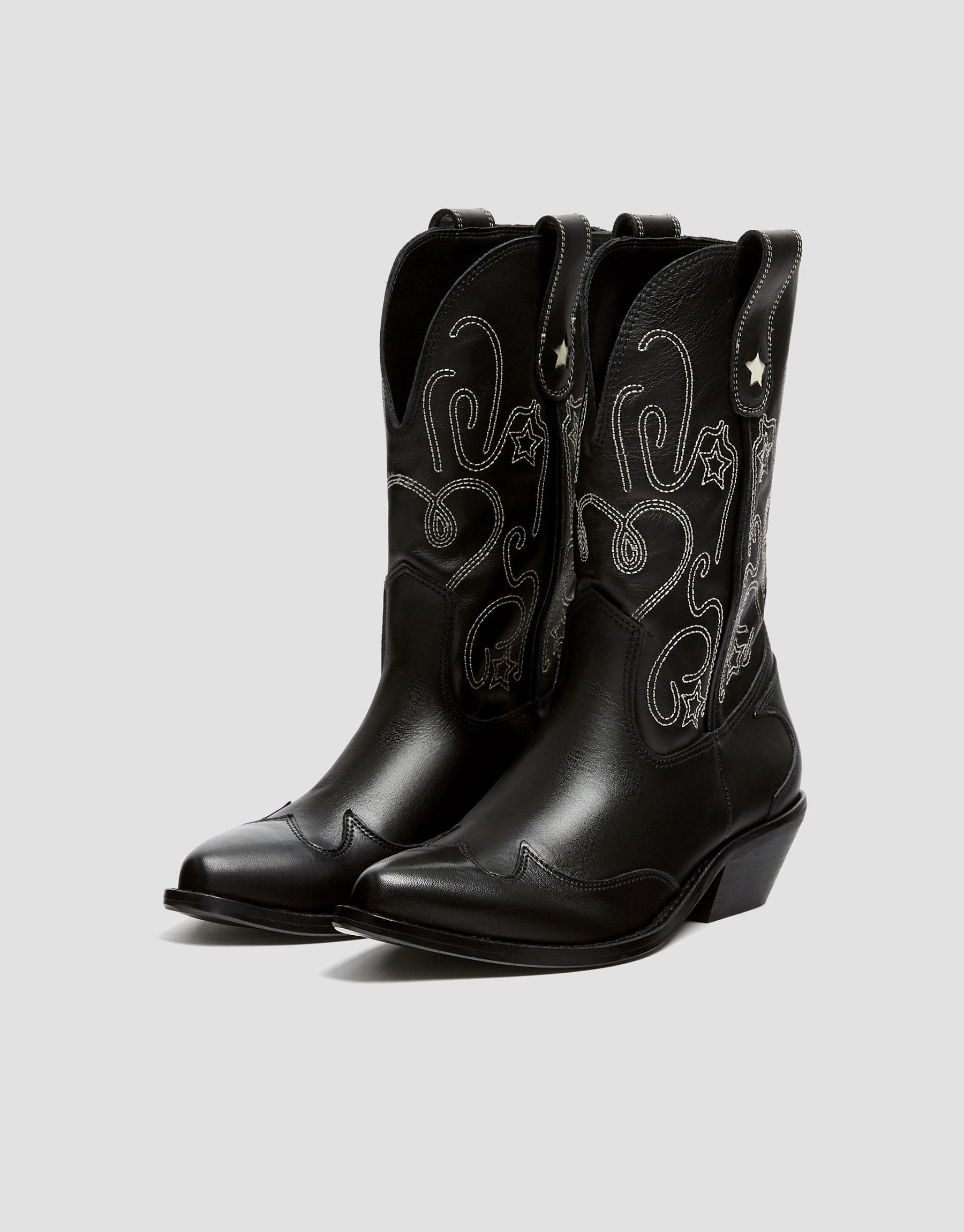 ddeee1b3e8f Embroidered leather cowboy boots