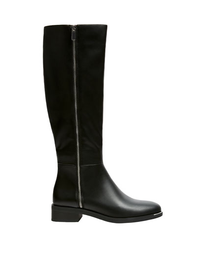 Flat black knee-high boots