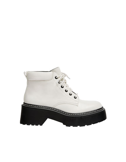 White fashion ankle boots