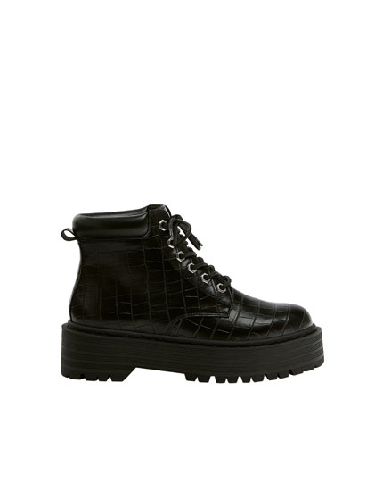 Lace-up mock croc ankle boots