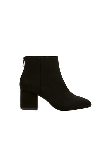 Basic black mid-heel ankle boots