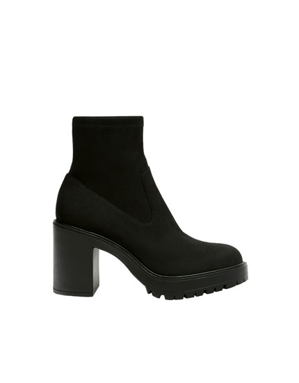 Stretchy black ankle boots
