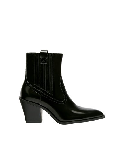 Cowboy ankle boots with glossy finish