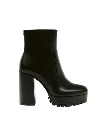 Black urban high-heel ankle boots