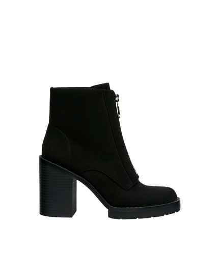 High-heel ankle boots with zip