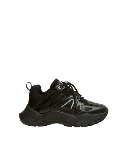 Multi-piece black fashion trainers