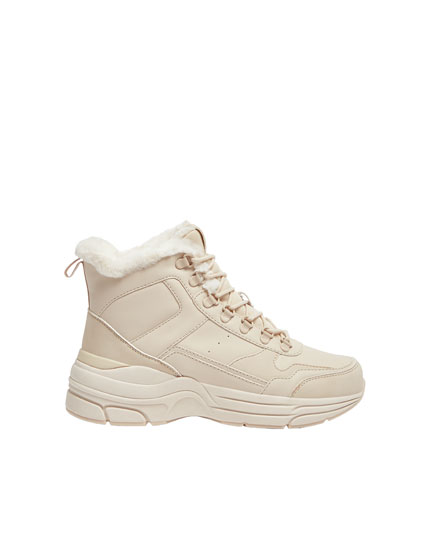 Lined beige high-top trainers
