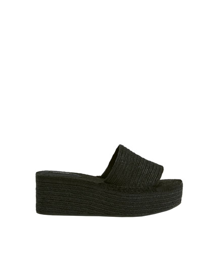 Black jute wedge slides