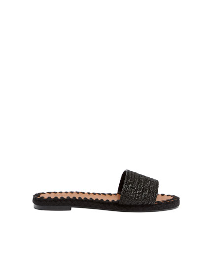 Black natural vamp sandals