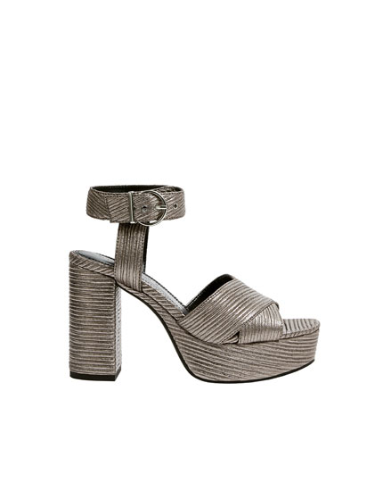 Silver high-heel embellished sandals