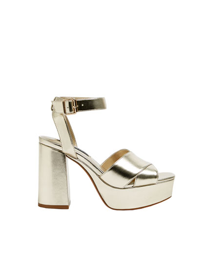 Gold high-heel sandals