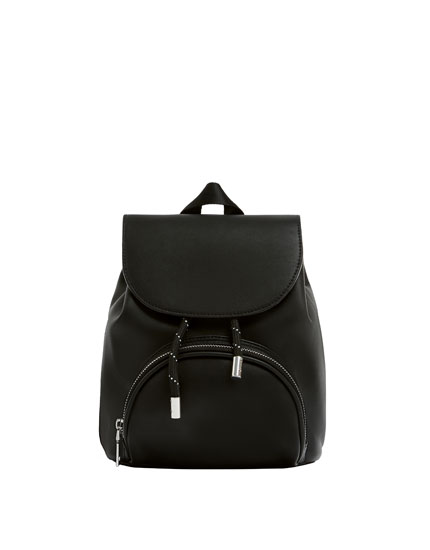Black mini backpack with pocket