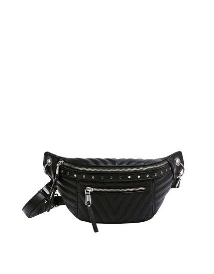 Quilted belt bag with metallic details