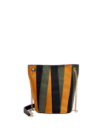 Three-tone bucket bag